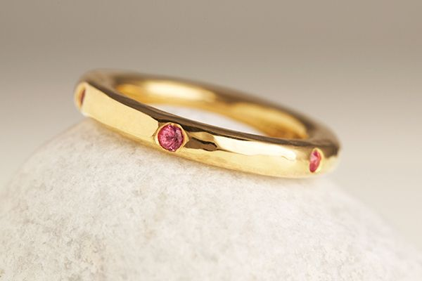 Fairtrade 18ct yellow/white gold wedding band with 5 sapphires by April Doubleday