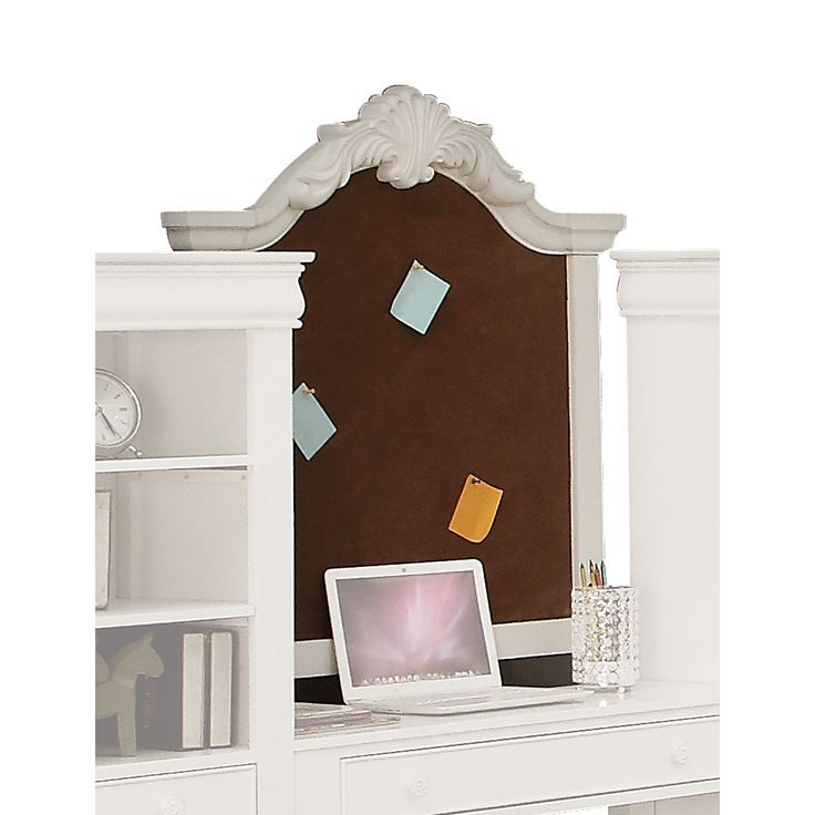 acme furniture estrella white pine corkboard wall frame