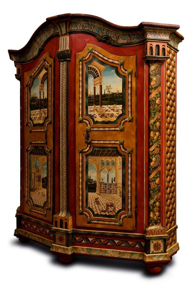 Armoire polychrome, travail moderne de Jean Pierre Besenval