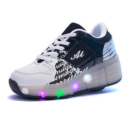 Oferta: 30€. Comprar Ofertas de Sollomensi Zapatillas con Ruedas Sola Ronda Para Skate Zapatos Deportivas con Luces LED Niños Mujer Hombre-Negro 34 barato. ¡Mira las ofertas!