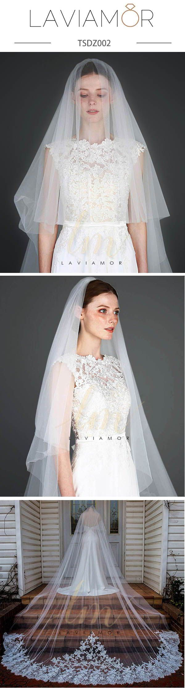 Two Tier Wedding Veil with Blusher Cathedral Veil