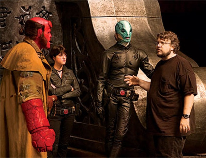 Guillermo del Toro and the cast of Hellboy 2.