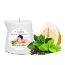 Naturalna Świeca do masażu HERBATA z POMELO, E-FIORE