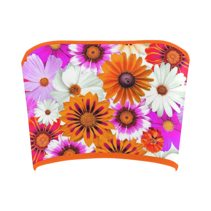 Spring Time Flowers 2 Orange Bandeau Top | ID: D2389418 #catscreations #Artsadd #springfashion #womenfashion #floral #bandeau #top