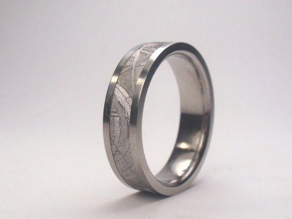 Meteorite Ring / Titanium Ring / 4 mm wide Gibeon Meteorite Inlay / Flat or Round profile on Etsy, $465.00
