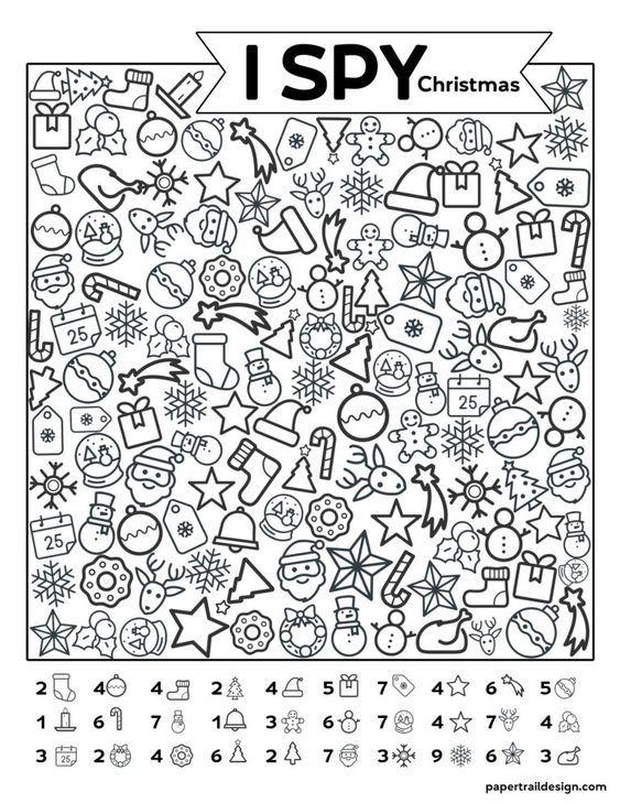 Free Printable I Spy Christmas Activity Paper Trail Design Christmas Worksheets Christmas Classroom Christmas School