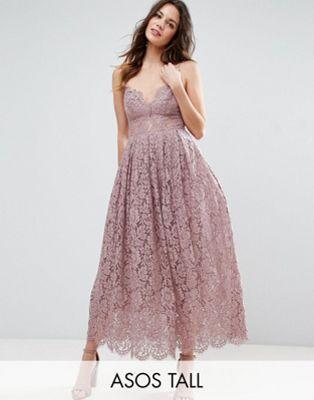 ASOS TALL Lace Cami Midi Prom Dress