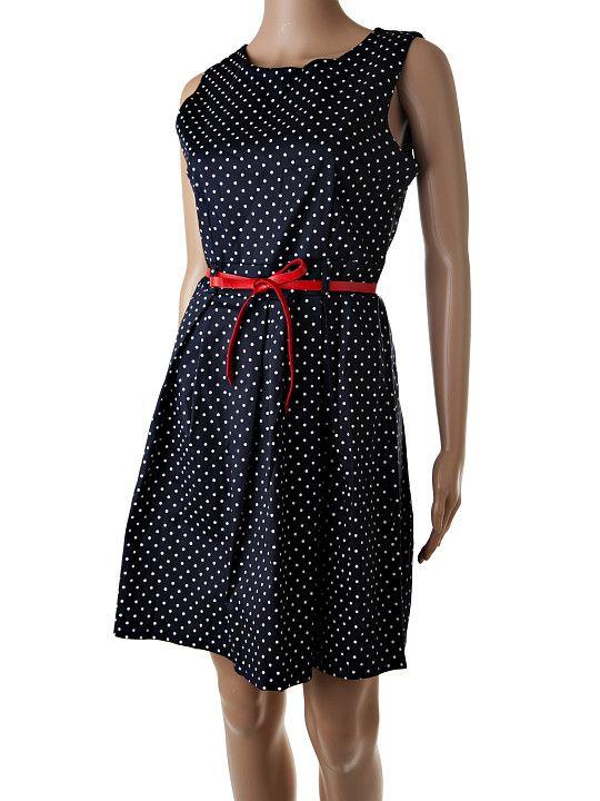 Krátke čierne retro bodkované šaty na ramená so zapínaním na zips na chrbte a úzkym koženkovým červeným opaskom. Šaty sú pevnejšie, držia na sukni balónový tvar. Materiál je kvalitná bavlna s prímesou elastanu. http://www.yolo.sk/saty/tmavomodre-kratke-retro-saty-yld