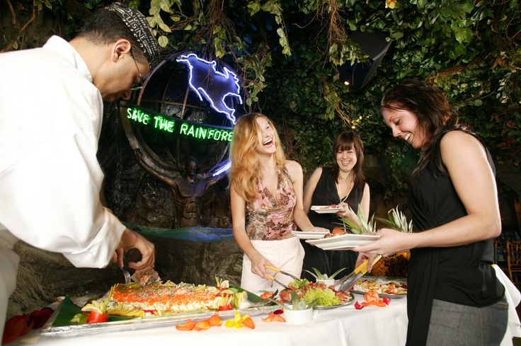 We can offer a buffet style service for breakfast, lunch or dinner! http://www.therainforestcafe.co.uk/aevents.asp