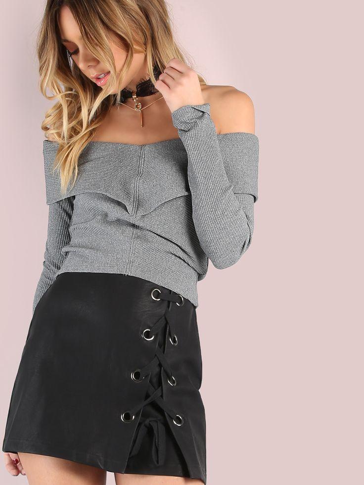 Shop Long Sleeve Bardot Rib Knit Crop Top HEATHER GREY online. SheIn offers Long Sleeve Bardot Rib Knit Crop Top HEATHER GREY & more to fit your fashionable needs.