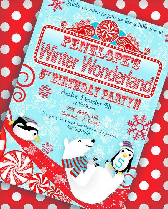 Winter Wonderland Invitation Penguin Party by GwynnWassonDesigns, $15.00