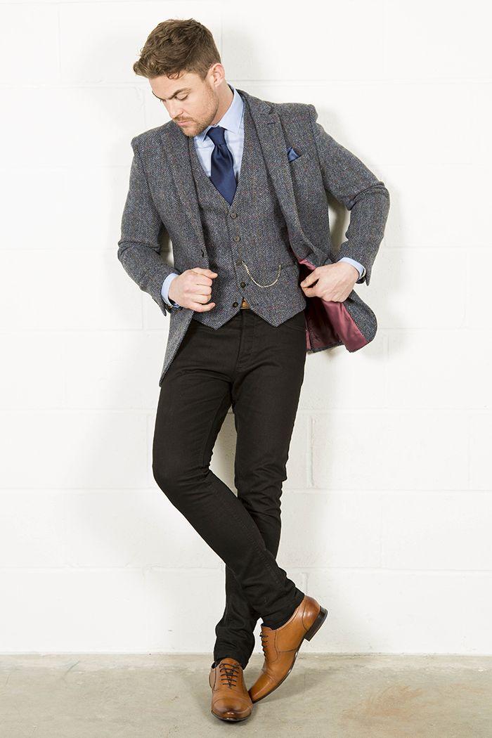 HARRIS TWEED BLUE CHECK TWEED BLAZER. £135.00. Shop now: http://www.slaters.co.uk/suits/tailoring/mens-blazers/harris-tweed-blue-check-tweed-blazer