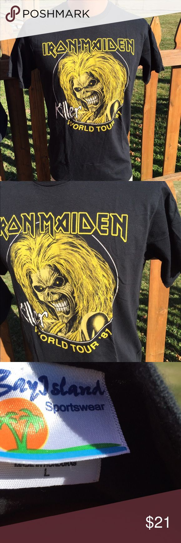 Iron Maiden Band World Tour T Shirt Size Large Size large. No graphics on back. Dated 2006 under the graphics. Be sure to view the other items in our closet. We offer both women's and Mens items in a variety of sizes. Bundle and save!! Thank you for viewing our item!! Bay Island  Shirts Tees - Short Sleeve