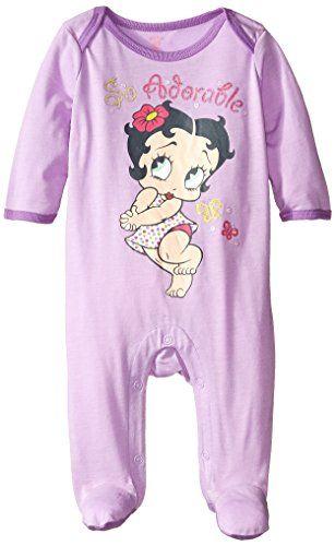 Betty Boop Baby Girls Newborn Sleep N Play Coverall Purple
