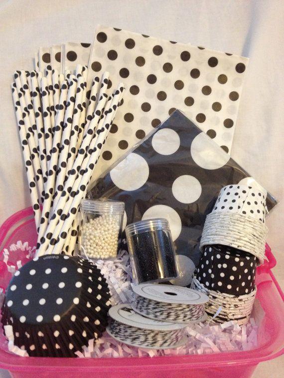 Black White Polka Dot Theme Party in A Box by PolkaDotPinwheel, $50.00