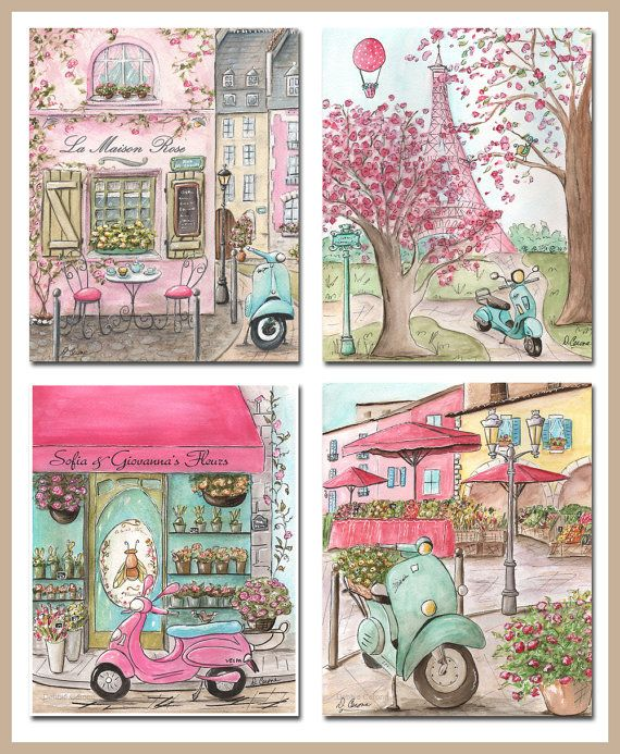 Adorable set of 4 pink Paris prints. You can have the cafe and flower shop personalized with girl's name!