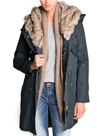 36 degrees today...I really really want this Faux Fur Hooded Parka by Mango :)
