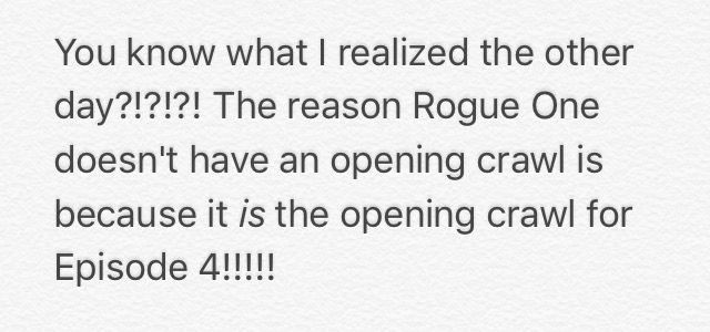 Rogue One, yes that's what the director, Gareth Edwards , pointed out when asked why there was no opening crawl! It's pretty neat when you think about it!