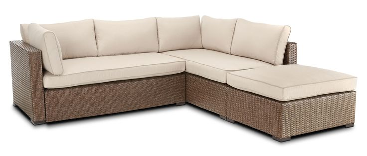 Outdoor Furniture - Caribe 2-Piece Outdoor Sectional and Ottoman - Beige