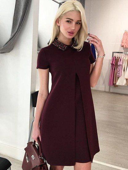 """Трендовое расклешенное платье цвета """"Марсала"""", фото 1"""