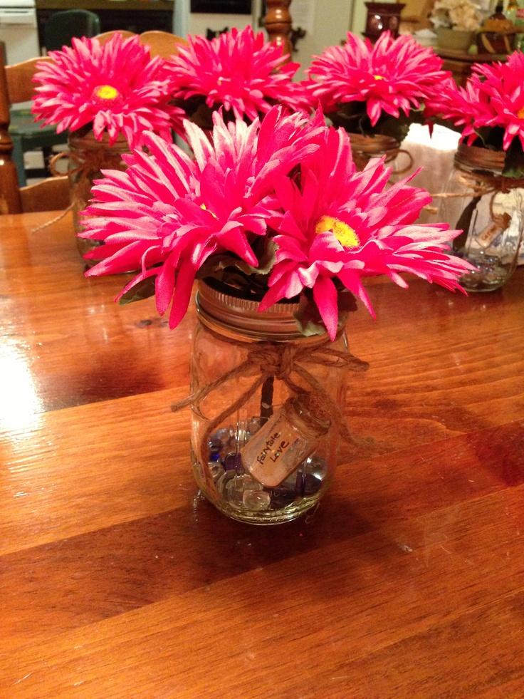 Graduation centerpiece. Mason Jar with Gerber Daisies. Add ...