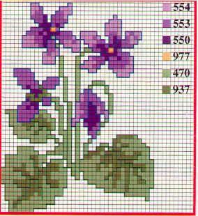 Schematyczne do haftu Kwiaty 26