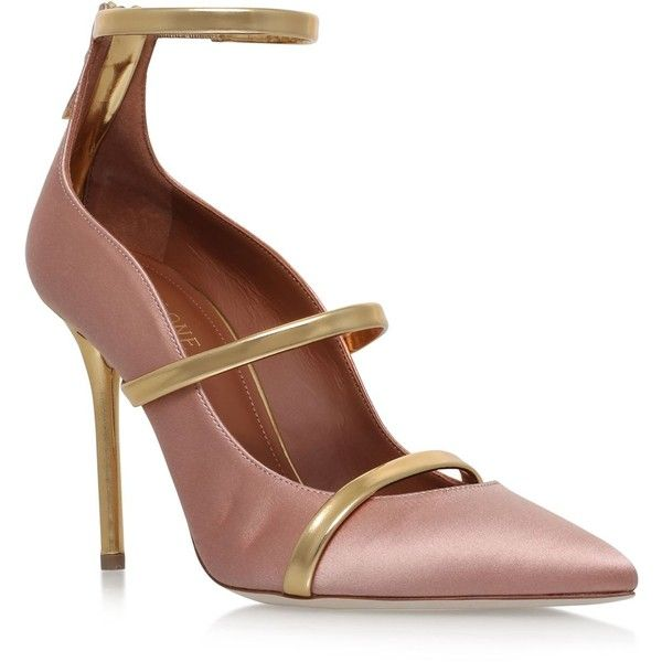Malone Souliers Satin Robyn Pumps 100 ($625) ❤ liked on Polyvore featuring shoes, pumps, strappy pumps, metallic shoes, zipper shoes, strap pumps and slip-on shoes