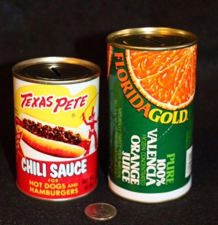 Texas Pete Chili Sauce Florida Gold Orange Juice Can Hidden Money Bank SAFE COOL