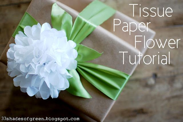 33 Shades of Green: Tissue Paper Flower Tutorial: Flowers Crafts, Crafts Ideas, Paper Flowers Tutorials, Paper Flower Tutorial, Tissue Paper Flowers, Gifts Wraps, Tissue Flowers, Shades Of Green, 33 Shades