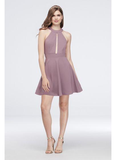 fdec77cef1 Scuba Crepe High-Neck Dress with Slit Bodice D69221DNE