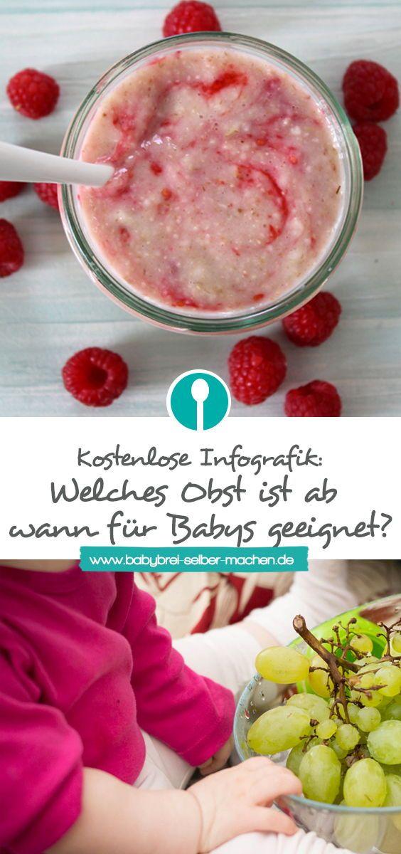 Welches Obst ist ab wann für Babybrei geeignet – Infografik – Babybrei-selber-machen.de