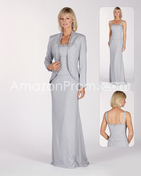 Fashionable Beaded Sheath/Column Square Neckline Floor-Length Mother of the Bride Dresses