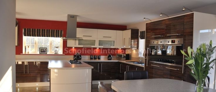 High Gloss Kitchen with Laminate Worktops