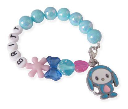 Twinkelbell Kindersieraden, Bubbles armbandje met blauwe kralen, hondje en naam.