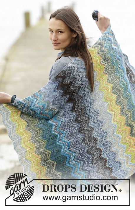"""Knitted DROPS blanket with stripes and zig-zag in """"Fabel"""". ~ DROPS Design"""