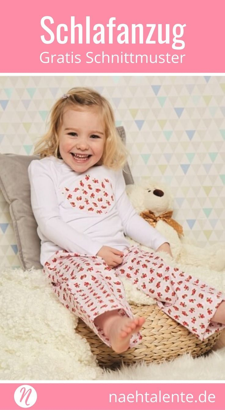 Kostenloses Schnittmuster für einen Kinder-Schlafanzug für 2 - 6 Jahre. Mit Schlafhose und Langarm-T-Shirt. ✂️ Nähtalente - Magazin für kostenlose Schnittmuster ✂️Free Sewing Pattern for a children pyjama für 2 - 6 years. Easy trouser and longsleeve. ✂️ Nähtalente - Magazin for sewing and free sewing pattern ✂️ #nähen #freebook #schnittmuster #gratis #nähenmachtglücklich #freesewingpattern #handmade #diy via @Naehtalente
