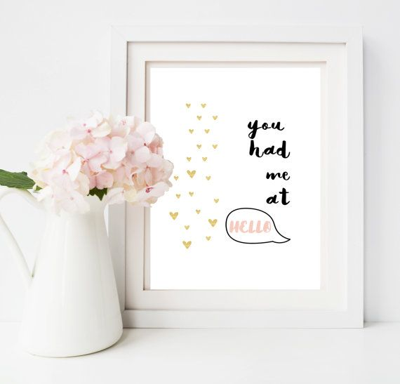 You Had Me At Hello Print  Valentines  / by lovepaperink on Etsy