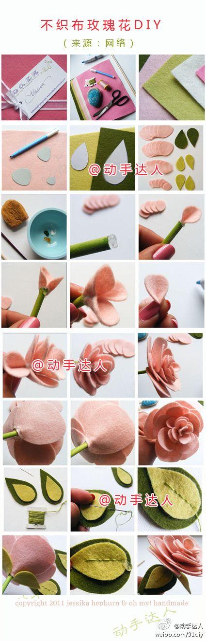 Felt Rose tutorial, she makes it look so easy!