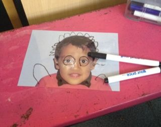 give your friend a moustache and glasses #abcdoes #markmaking #teachingideas #eyfs