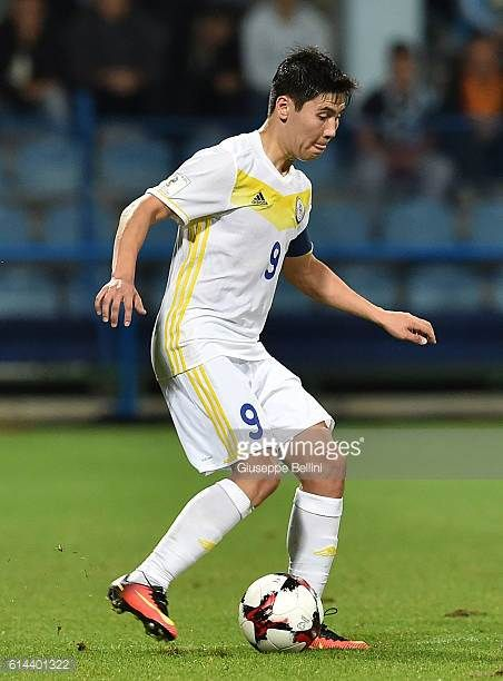 Bauyrzhan Islamkhan of Kazakhstan in action during the FIFA 2018 World Cup Qualifier between Montenegro and Kazakhstan at Podgorica City Stadium on...