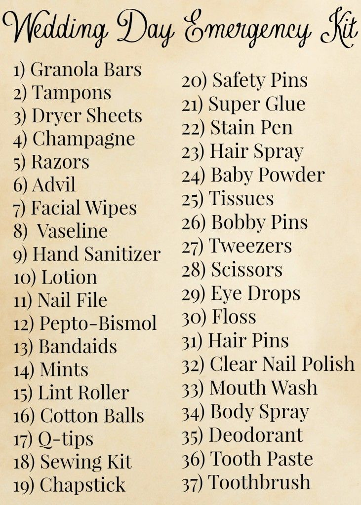 Wedding Day Emergency Kit lol maybe someday I will need this list... doubtful