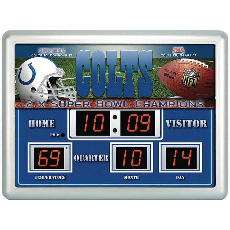 Officially Licensed NFL Scoreboard Wall Clock - Colts