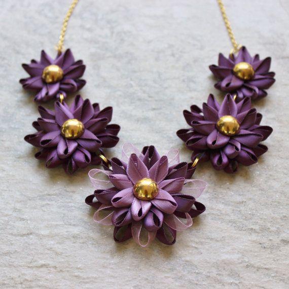 Purple Necklace Purple Statement Necklace by PetalPerceptions