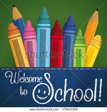 Colorful crayons, color and pencil in a jean's pocket with embroidery greeting…