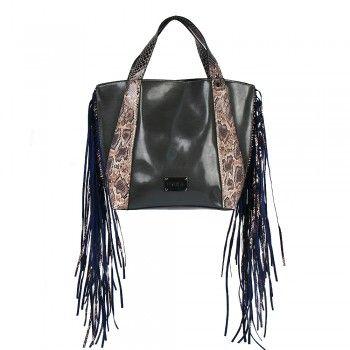 torebka damska ze skóry ekologicznej BAG1630 szara z brązowym wężem