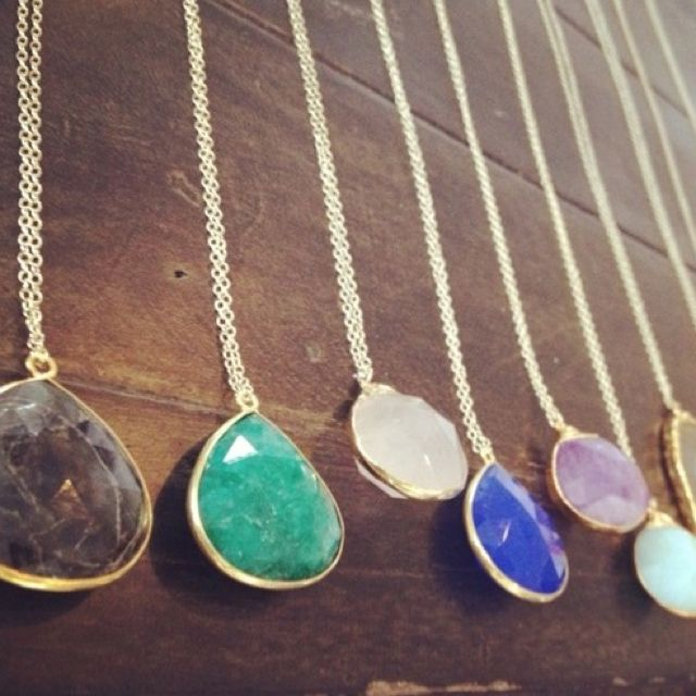 Ooo I want all of them.: Pendant Necklace, Color, Jewel Necklaces, Jewelry, Stones, Long Necklaces, Design