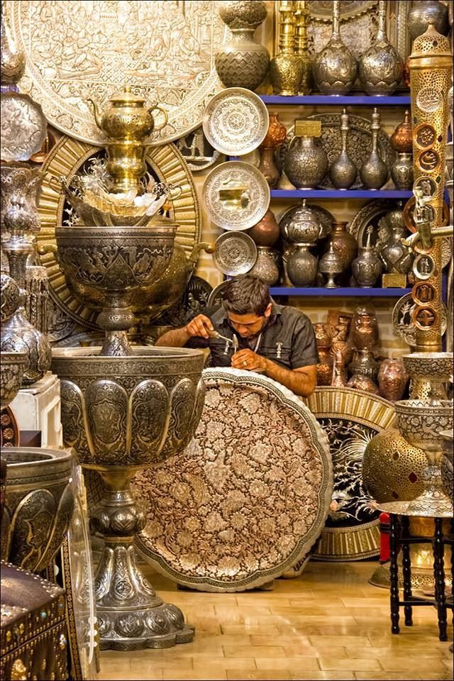 Silver Bazaar ~ Isfahan, Iran I would love to have a collection of these things !!!