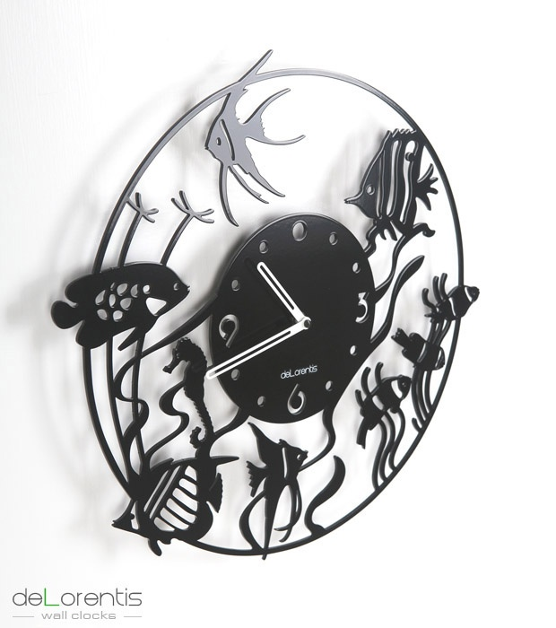 "Metal Wall clock ATOL -  40 cm / 16"" - Metal laser cutting - Design Jacques Lahitte © Tolonensis Creation - www.tolonensis.com"