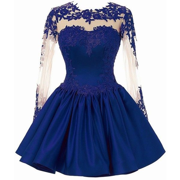 CuteShe Women's Short Lace Homecoming Prom Dresses with Long Sleeves ($79) ❤ liked on Polyvore featuring dresses, lace prom dresses, blue lace dress, long sleeve lace dress, blue homecoming dresses and short blue dresses