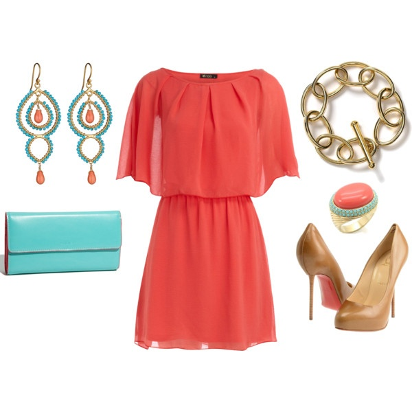 Adorable!: Date Night, Coral Dress, Colors Combos, Cocktails Dresses, Dreams Closet, Spring Colors, Outfit, Colors Combinations, The Dresses